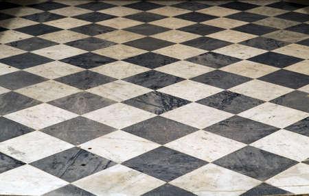 Ceramic Tiles ceramic floor square texture pattern black white chess background perspective interior Foto de archivo