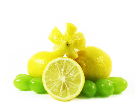lemon and grape on white background photo