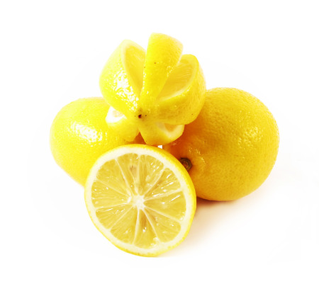 lemons fruits on white background photo