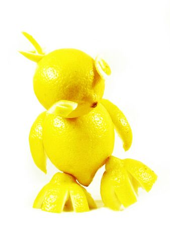 abstract construction from fruits: lemons chicken