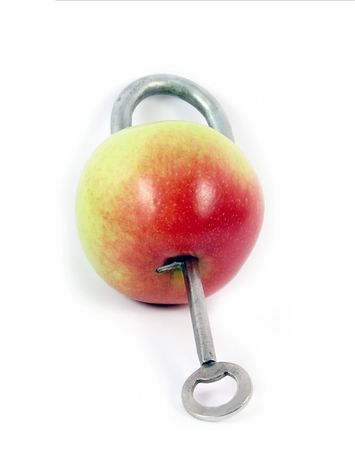 health symbols metaphors: concept abstract on white background: apple as padlock -