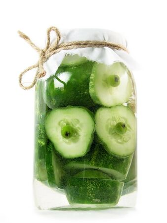 abstract construction from creative series: jar of pickles with people of cucumber