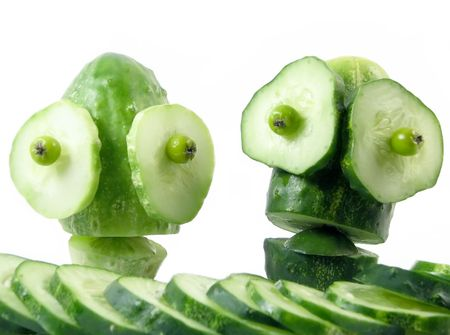 abstract construction from creative series: peoples of cucumbers