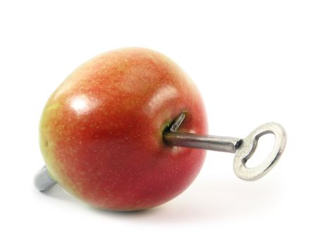 concept abstract on white background: apple as padlock - If you will eat apples it health have provide;) photo