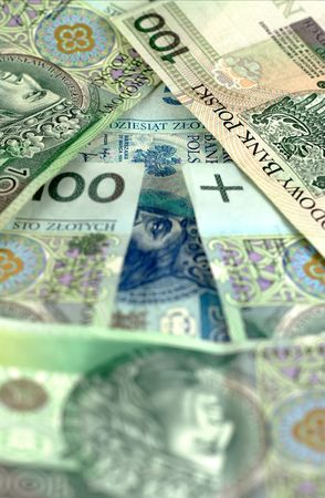 image from business series: arrow from polish banknotes photo