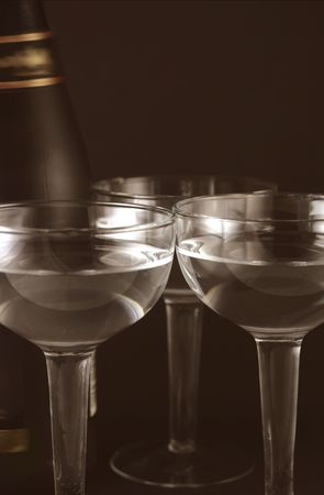 twelfth night: image from christmas series: bottle and goblets on champagne Stock Photo