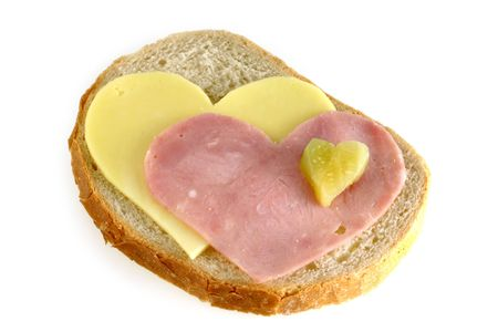 image from creative food series: sandwich with hearts Standard-Bild