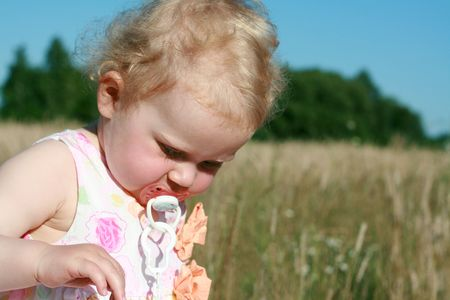 teat: image from people series: girl on meadow teat Stock Photo