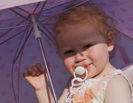 teat: people series: girl with umbrella and teat Stock Photo