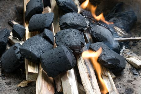kindling: obiect series: kindling with charcoal and wood