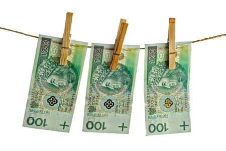 business series: polish banknotes hundred on string