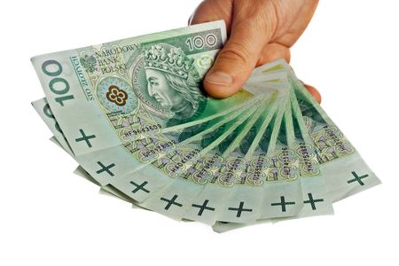 business series: polish banknotes in hands