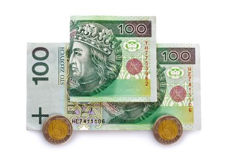 business series: car with polish banknotes photo