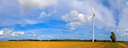 landscape series: panorama of wind turbines photo
