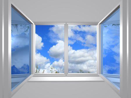 ventanas abiertas: Serie 3: vista desde la ventana de cielo azul Foto de archivo