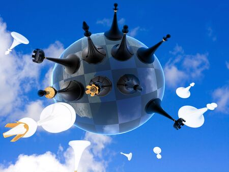 3d render series: chess global war on earth against the sky photo