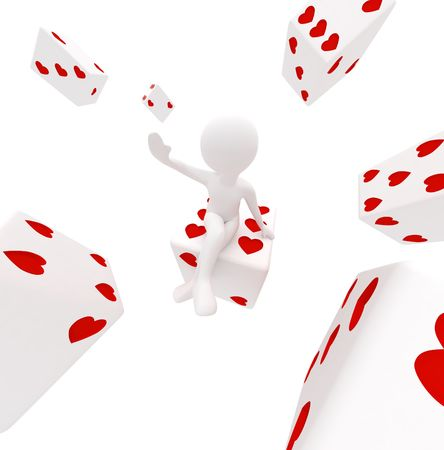 3d render series: girl with dices in hearts Stock Photo - 6722392