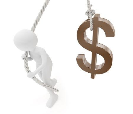 3d render series: dollar symbol and person