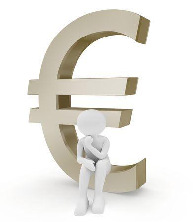 3d render series: euro symbol and person Фото со стока