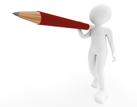 3d render series: person with pen on white photo