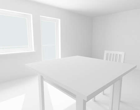 3d render: table and chair in white room Stock Photo - 7118257