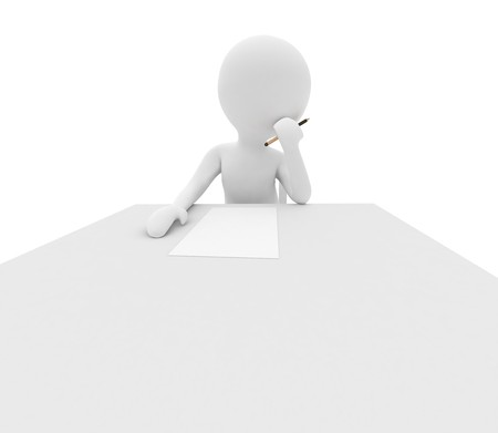 3d render series: person is thinking what to write Stock Photo - 7227566