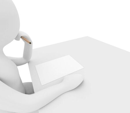 3d render series: person is thinking what to write