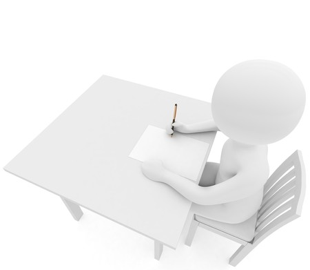 rendered: 3d render: person writes on white table Stock Photo