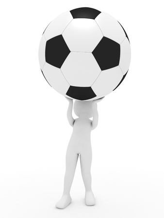 3d render: person with football Stock Photo - 10074779