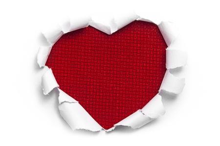 Art banner design in shape of heart in white paper Фото со стока