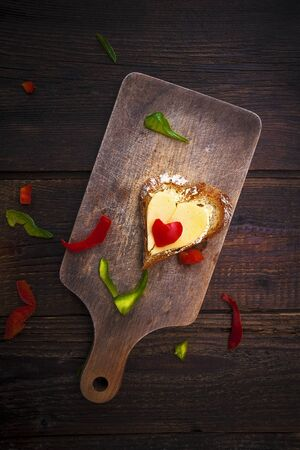 Image from creative food series  hearts sandwiches photo
