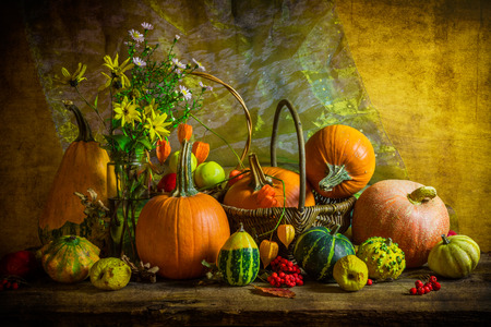 quinces: Autumnal Halloween still life with pumpkins, rowan and quinces Stock Photo