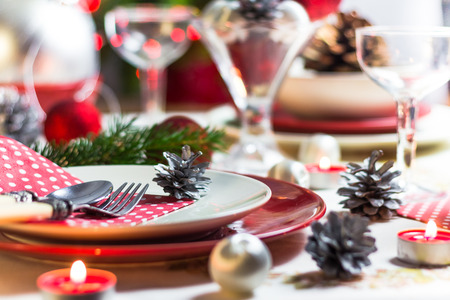 Festive table. Christmas decorations and Christmas Eve dishes