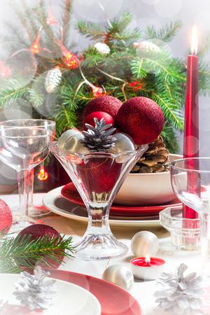 christmas eve: Festive table. Christmas decorations and Christmas Eve dishes