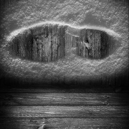 panelling: Wooden background with shoe print in the snow Stock Photo