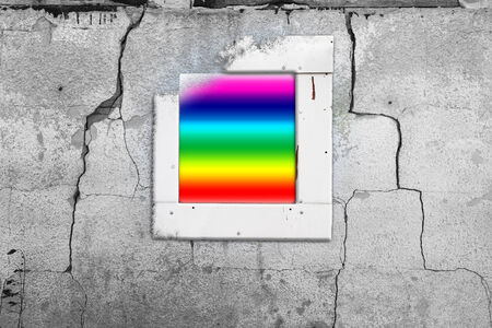 ruined house: Old cracked wall with a window painted in rainbow
