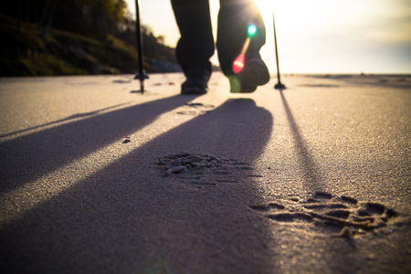 Feet cultivating man nordic walking on the beach photo