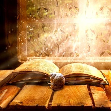 narrative: Open old book of magic with the snail