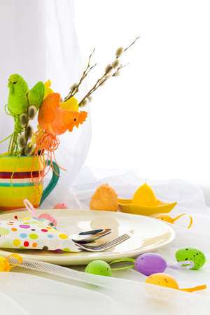 Easter composition table with tableware for one person photo