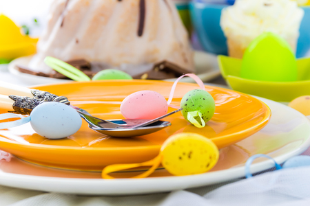Tableware for one person at the Easter table photo