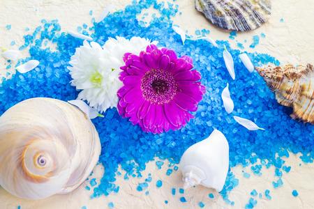 Spa set with bath salt and flowers photo
