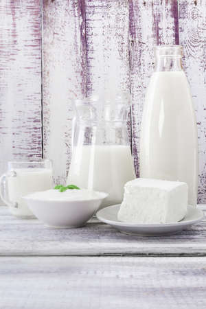 Milk with cream cheese and sour cream photo