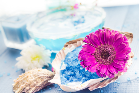 Spa concept with aromatic flower and bath salt photo