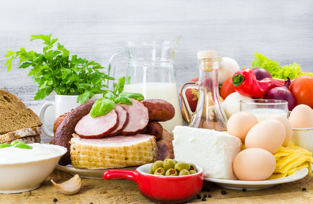 Set of many different foods - healthy diet