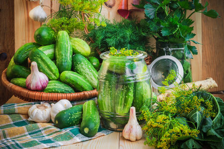 pickling: Jar of pickles and other ingredients for pickling