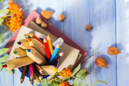 Stifte, Bücher und Herbst Früchte: das Konzept zurück in die Schule Standard-Bild - 30907373