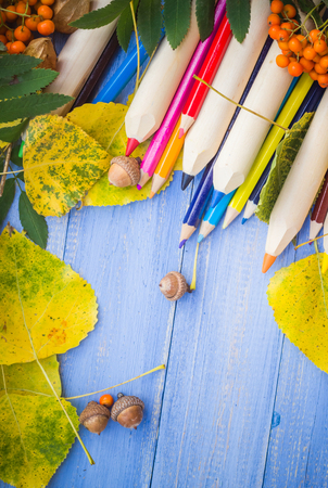 Vintage background: Concept autumn back to school photo