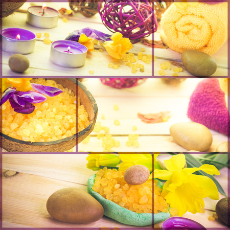 Wellness collage with floral water and bath salt - spa collection photo