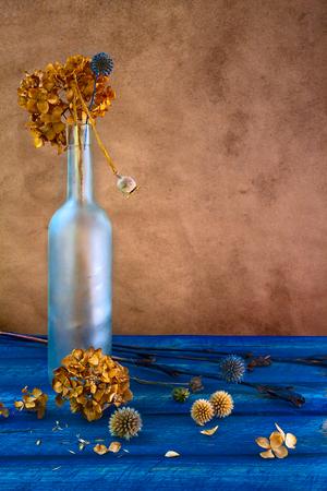 fiori secchi: Natura morta con fiori secchi in una bottiglia Archivio Fotografico