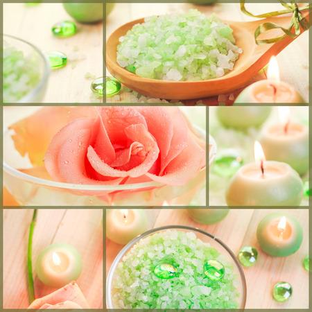 collage spa: Collage de bienestar con agua de flores y sal de ba�o - collage del balneario